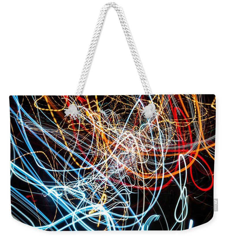 Fine Art Photograph Weekender Tote Bag featuring the photograph Lightpainting Single Wall Art Print Photograph 9 by John Williams