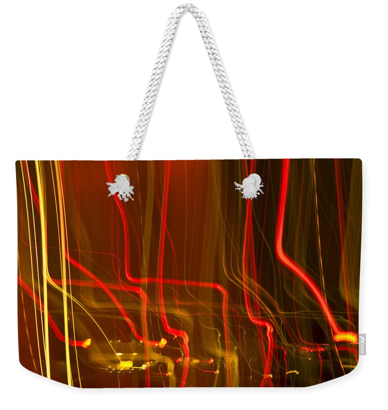 Weekender Tote Bag featuring the photograph Lights Abstract02 by Svetlana Sewell