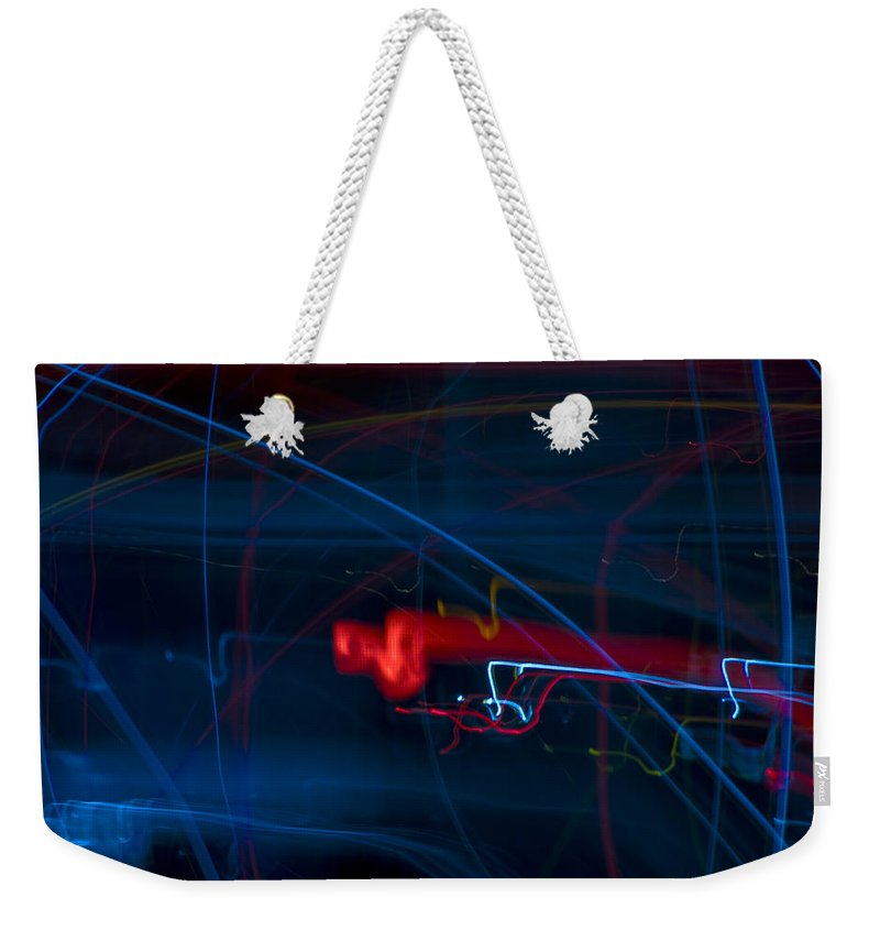 Weekender Tote Bag featuring the photograph Lights Abstract03 by Svetlana Sewell