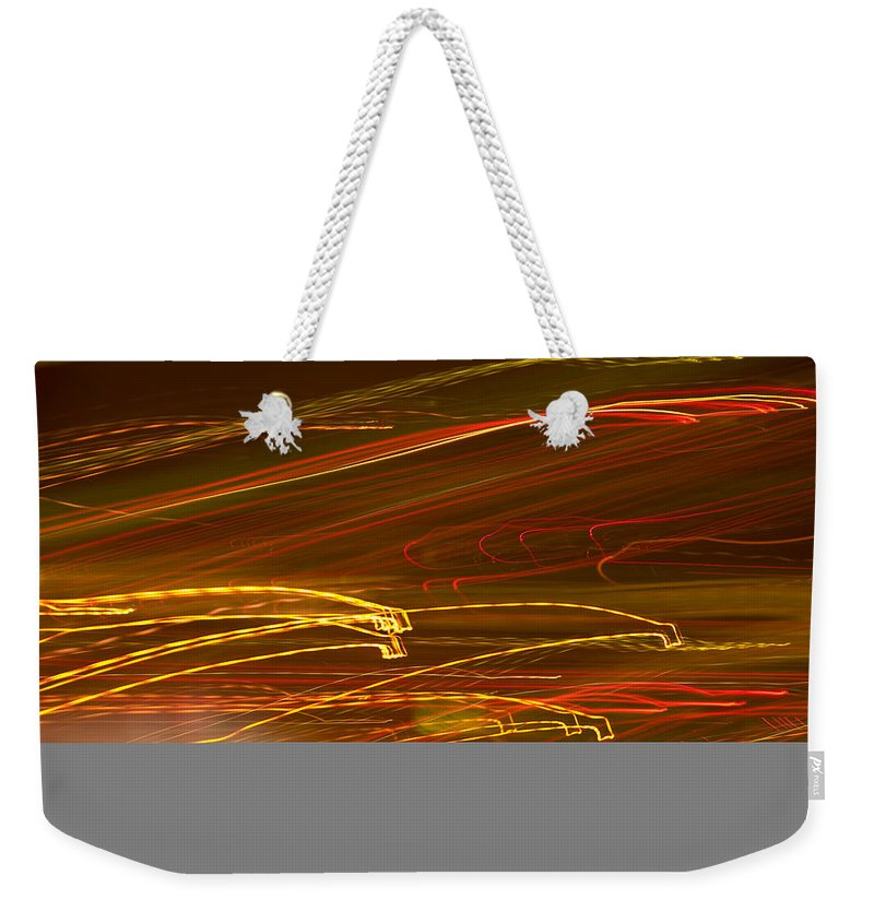 Abstract Weekender Tote Bag featuring the photograph Lights Abstract4 by Svetlana Sewell