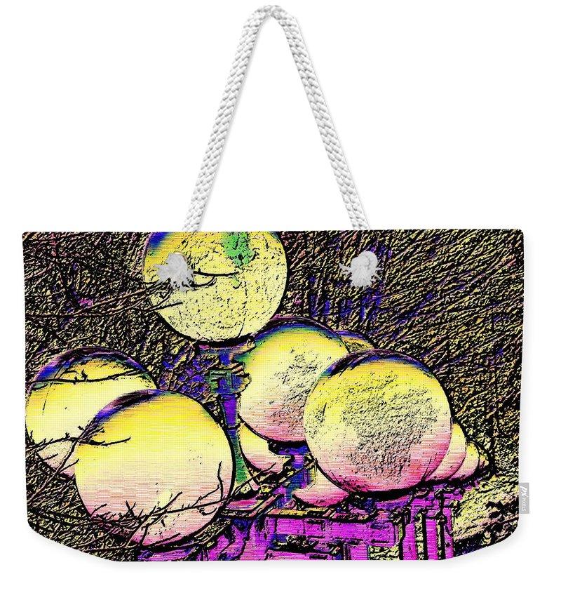 Landscape Weekender Tote Bag featuring the digital art Lights Along The Way by Tim Allen