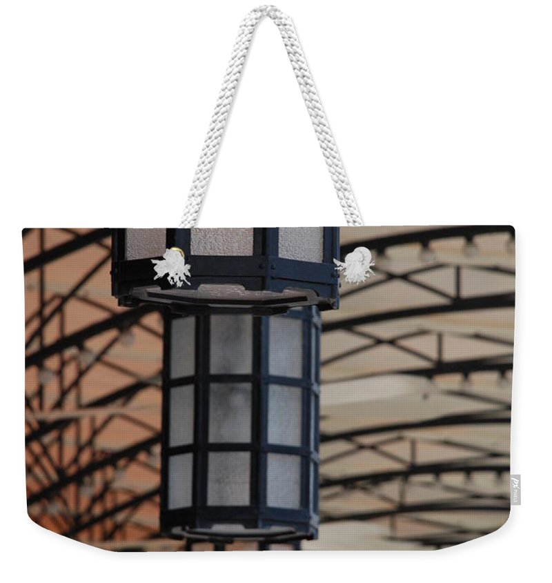 Architecture Weekender Tote Bag featuring the photograph Lights At City Place by Rob Hans
