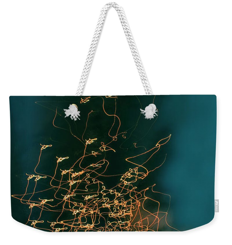 Abstract Weekender Tote Bag featuring the photograph Lights by Linda Sannuti