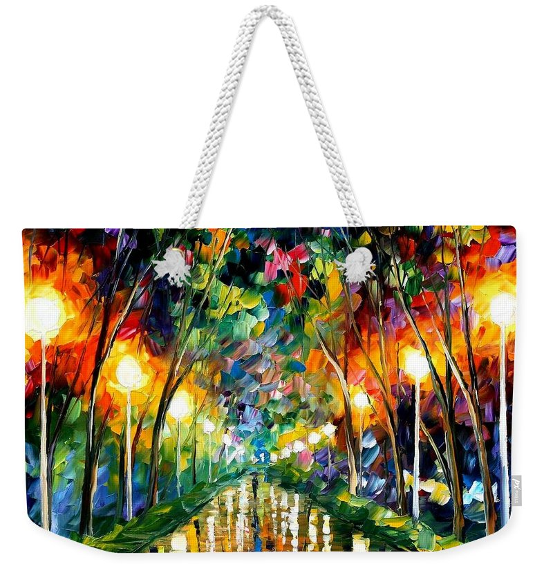 Afremov Weekender Tote Bag featuring the painting Lights Of Hope by Leonid Afremov