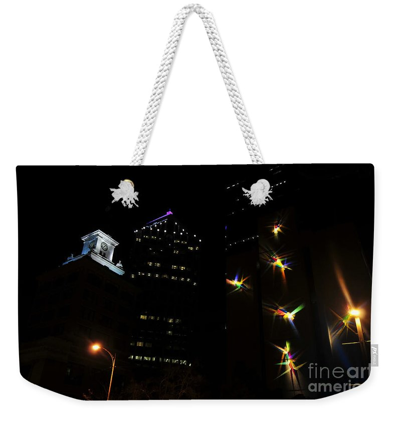 Night Lights Weekender Tote Bag featuring the photograph Lights On Tampa by David Lee Thompson