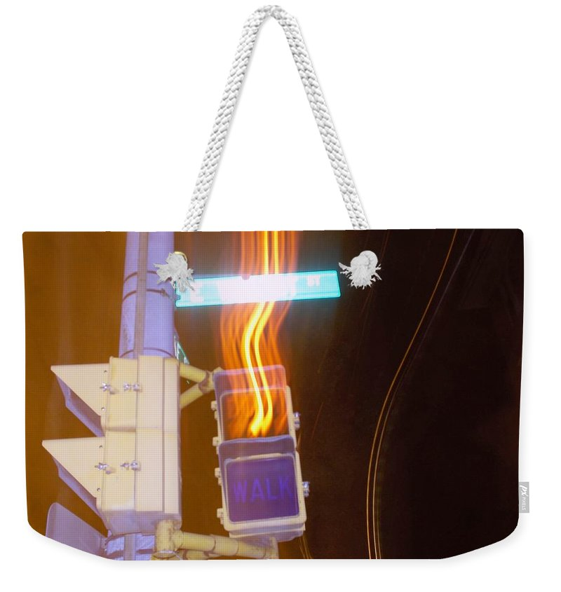 Photograph Weekender Tote Bag featuring the photograph Lights That Eat Do Not Walk Signals by Thomas Valentine