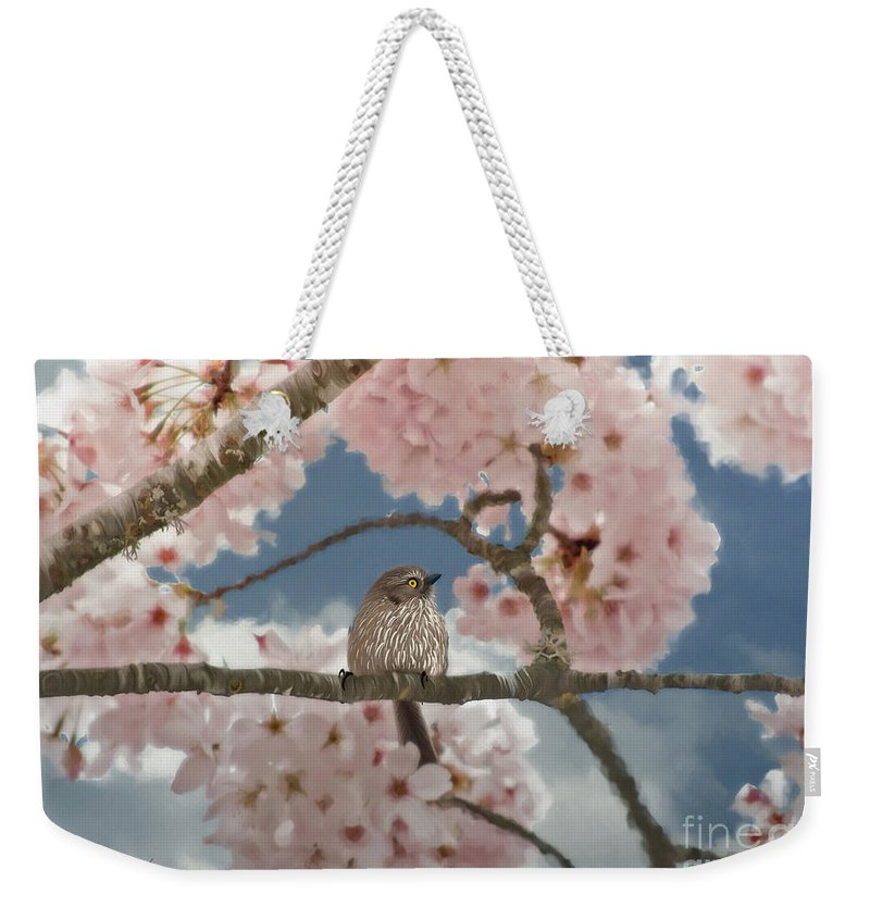 Lil Bushtit Weekender Tote Bag featuring the painting Lil Bushtit by Beve Brown-Clark Photography