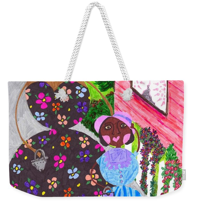 Roundabouts Weekender Tote Bag featuring the painting Lil Mona And Aunt Spike by Stacey Torres