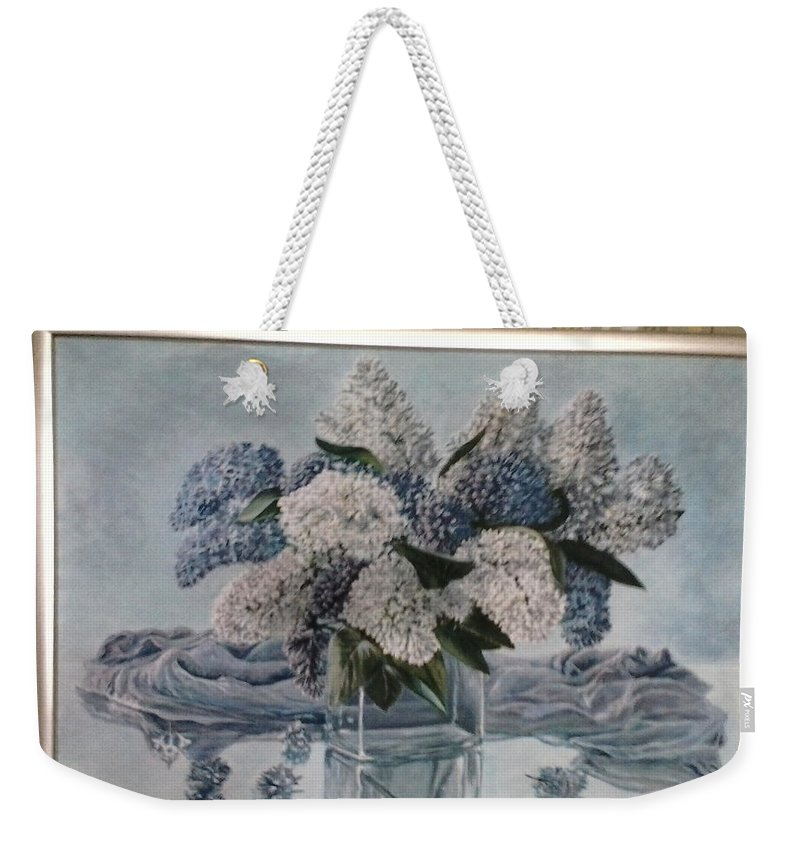 Lilac Weekender Tote Bag featuring the painting Lilac by Artyom Ukhov