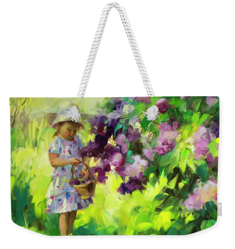 Spring Weekender Tote Bag featuring the painting Lilac Festival by Steve Henderson