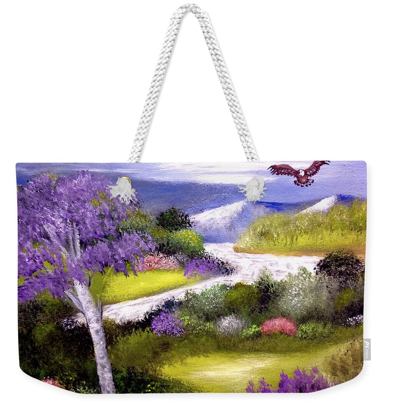 Landscape Eagle River Trees Weekender Tote Bag featuring the painting Lilac Valley by Sandra Young Servis