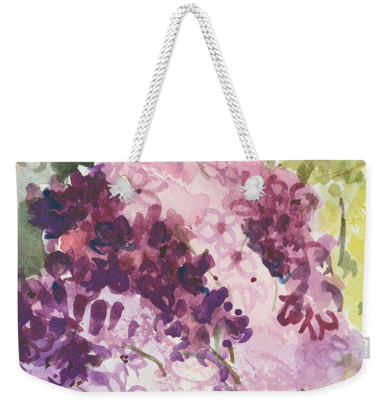 Original Weekender Tote Bag featuring the painting Lilacs - Note Card by Elisabeta Hermann