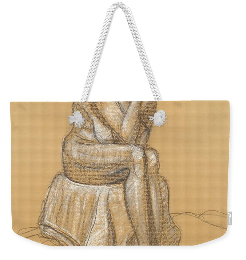 Realism Weekender Tote Bag featuring the drawing Liliana Hair Up by Donelli DiMaria