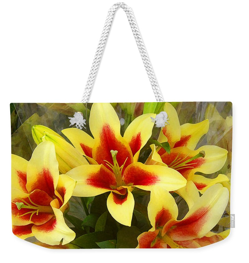 Spring Weekender Tote Bag featuring the painting Lilies by Amy Vangsgard