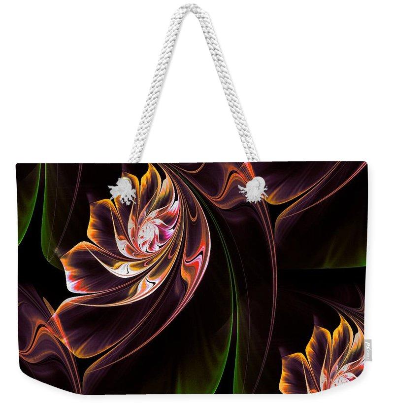 Lilies Weekender Tote Bag featuring the digital art Lilies by Dana Furi