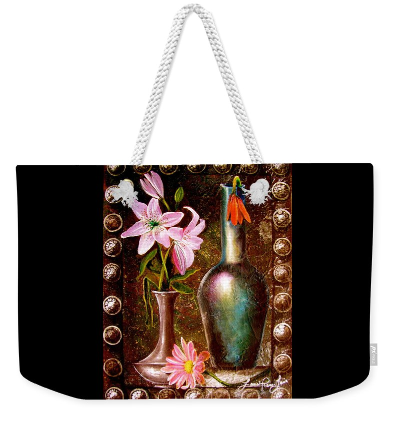 Painting Weekender Tote Bag featuring the painting Lilies by Laura Pierre-Louis