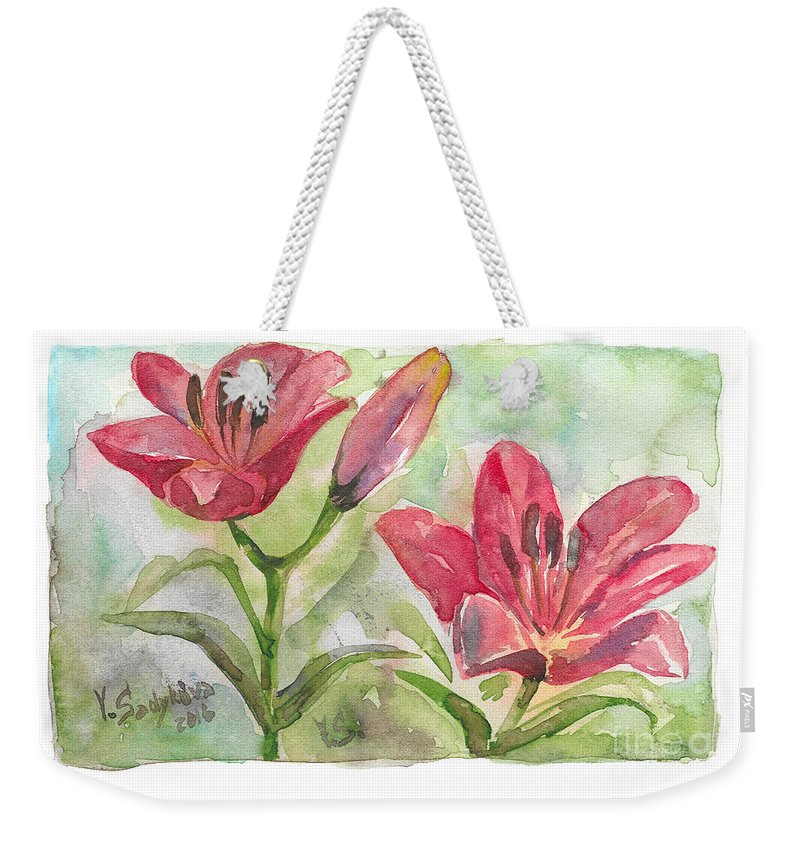 Lilies Weekender Tote Bag featuring the painting Lilies by Yana Sadykova