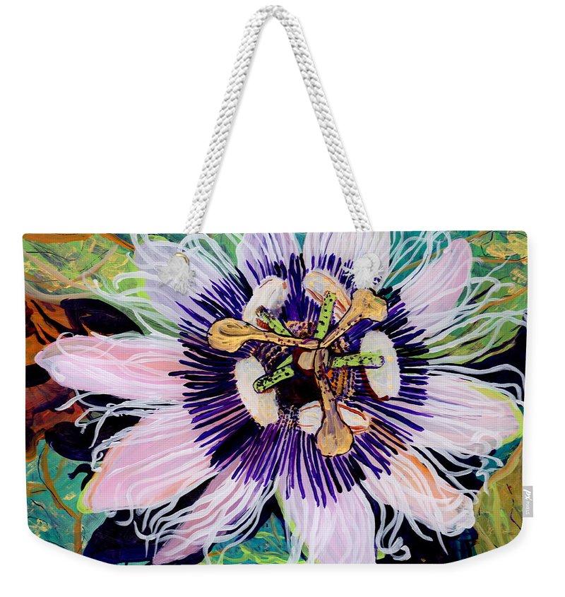 Passion Fruit Flower Weekender Tote Bags