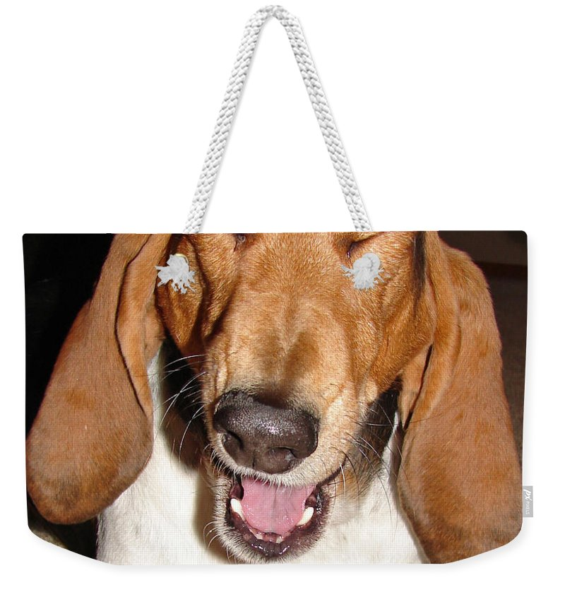 Basset Hound Weekender Tote Bag featuring the photograph Lillard by Heather Coen