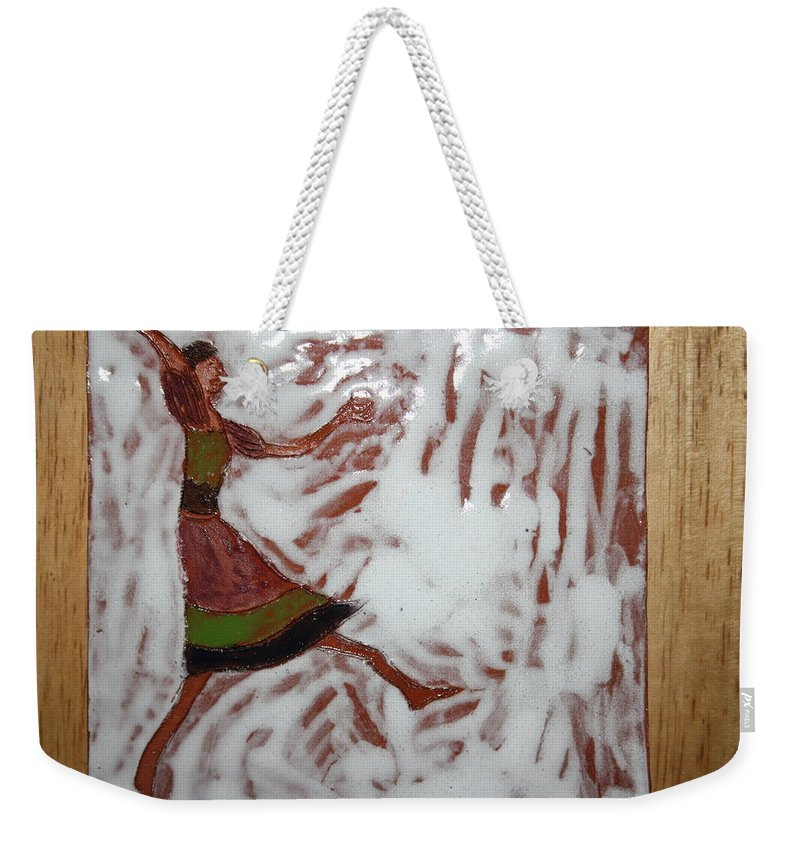 Jesus Weekender Tote Bag featuring the ceramic art Lillian - Tile by Gloria Ssali