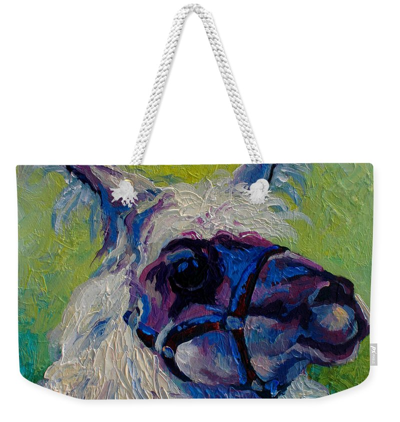 Llama Weekender Tote Bag featuring the painting Lilloet - Llama by Marion Rose