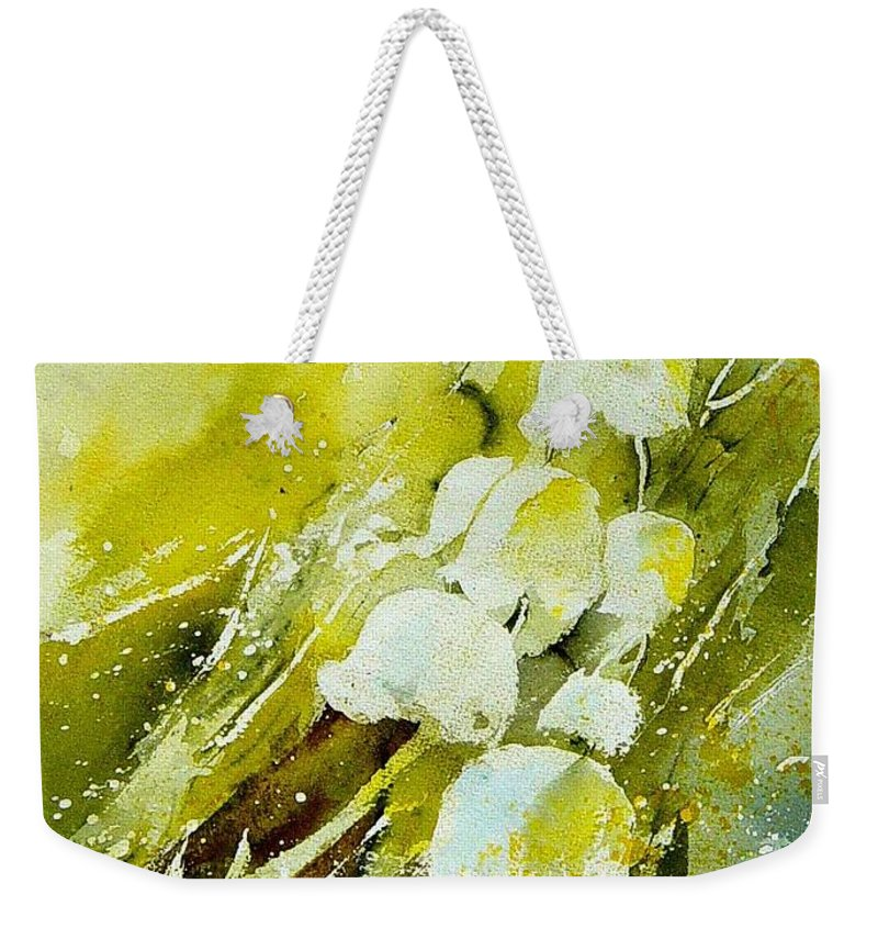 Flowers Weekender Tote Bag featuring the painting Lilly Of The Valley by Pol Ledent