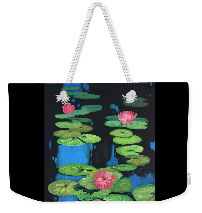 Lilly Pond Weekender Tote Bag featuring the painting Lilly Pond by Cynthia Riley