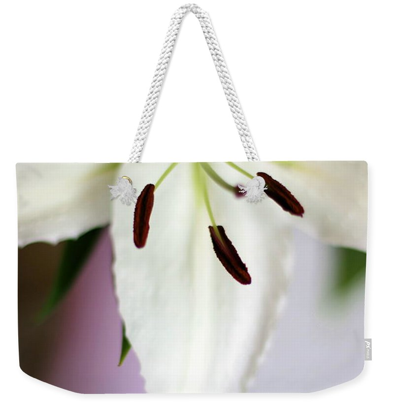 Flower Weekender Tote Bag featuring the photograph Lily by Angela Rath