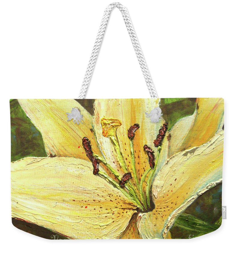 Lily Weekender Tote Bag featuring the painting Lily Dream by Nicole Angell