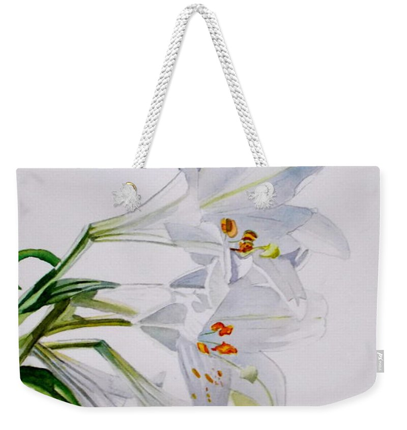 Lily. Flower Weekender Tote Bag featuring the painting Lily by Nicole Curreri