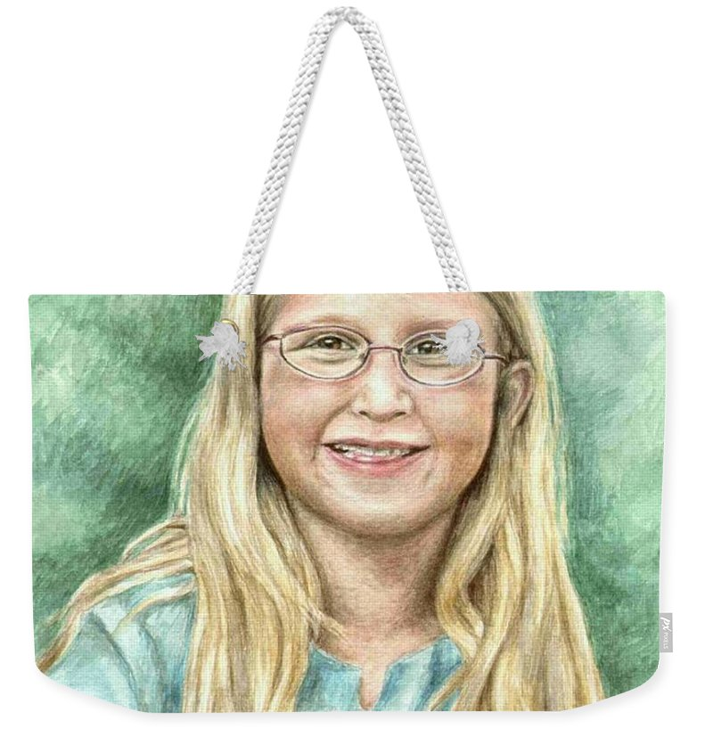 Girl Weekender Tote Bag featuring the painting Lily by Nicole Zeug