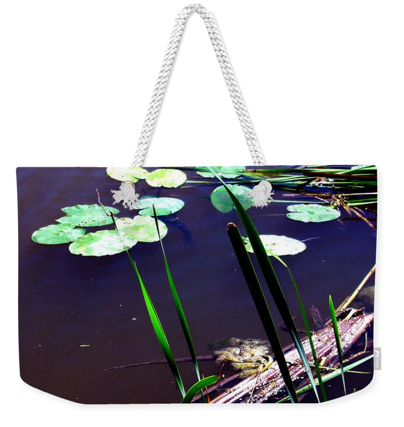 Reeds And Lily Pads Weekender Tote Bag featuring the photograph Lily Pads And Reeds by Joanne Smoley