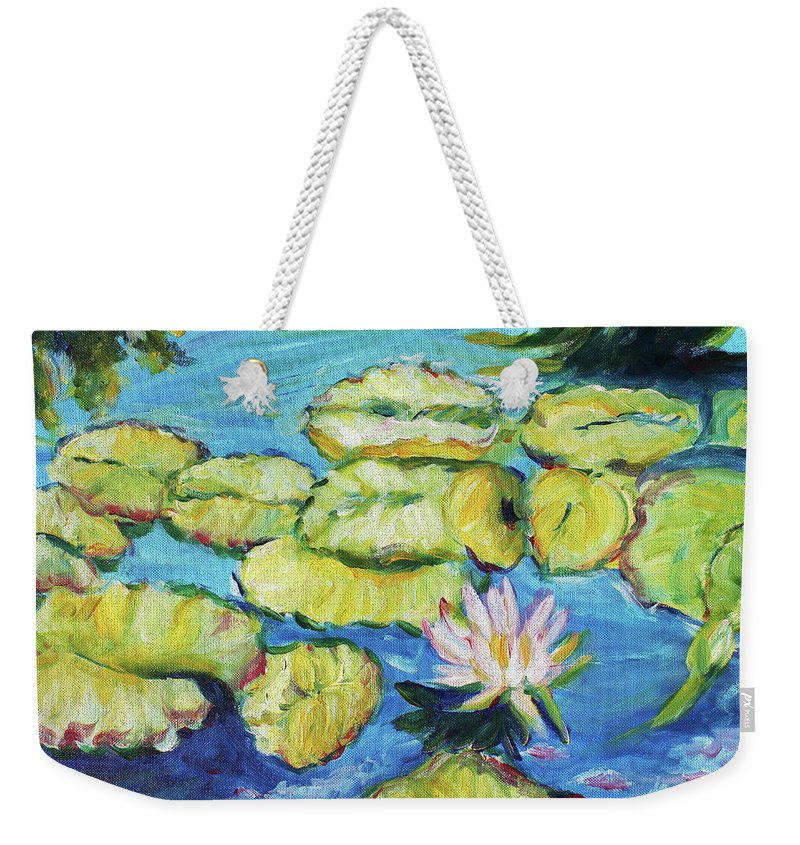 Lily Pads Weekender Tote Bag featuring the painting Lily Pads Mo Botanical Garden I by Carol Boss
