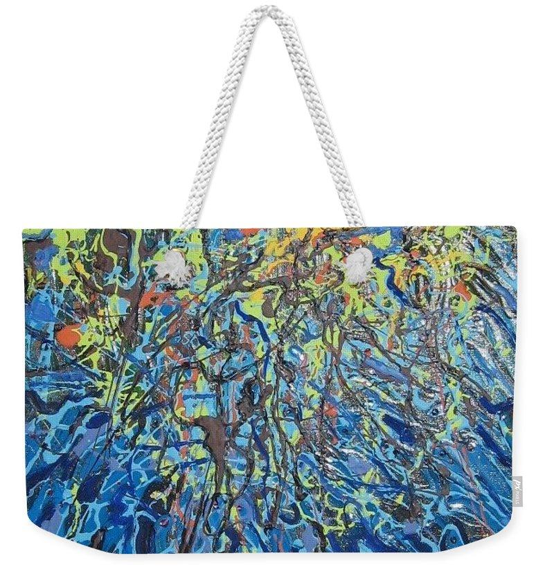Lily Pads Paintings Weekender Tote Bag featuring the painting Lily Pads Water Lily Paintings by Seon-Jeong Kim