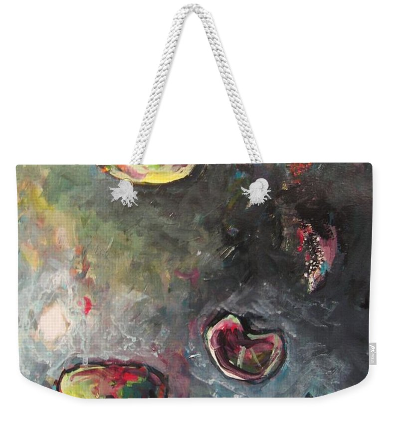 Abstract Painting Lily Pad Water Lake Blue Plant Paper Original Contemporary Canvas Weekender Tote Bag featuring the painting Lily Pads5 by Seon-Jeong Kim