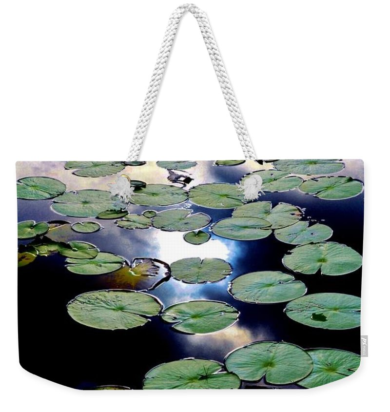 Lily Stairway Weekender Tote Bag featuring the photograph Lily Stairway by Lisa Renee Ludlum