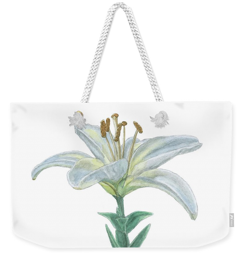 Lily Weekender Tote Bag featuring the painting Lily Watercolor by Dominic White