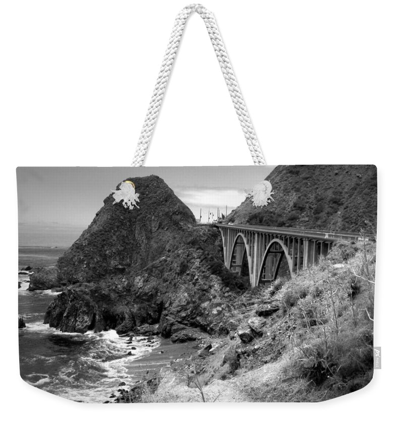 Lime-creek Weekender Tote Bag featuring the photograph Lime Creek Bridge Highway 1 Big Sur Ca B And W by Joyce Dickens