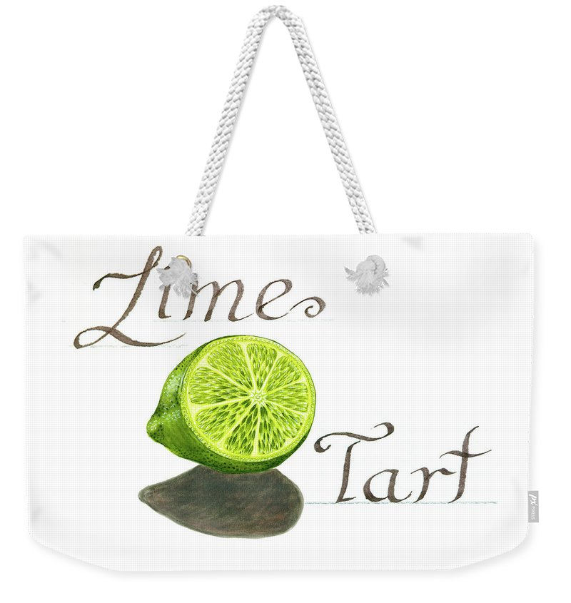 Watercolor Painting Weekender Tote Bag featuring the painting Lime Tart by Erin Sparler