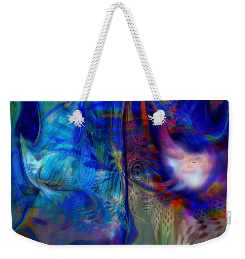 Abstract Weekender Tote Bag featuring the digital art Limelight by Linda Sannuti
