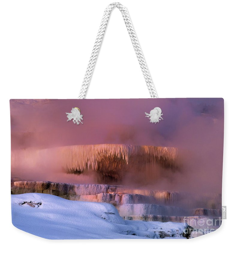 North America Weekender Tote Bag featuring the photograph Limestone Artwork Minerva Springs Yellowstone National Park by Dave Welling