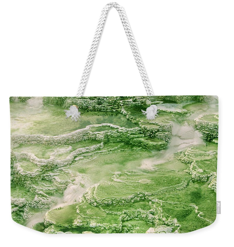 North America Weekender Tote Bag featuring the photograph Limestone Detail Minerva Springs Yellowstone National Park by Dave Welling