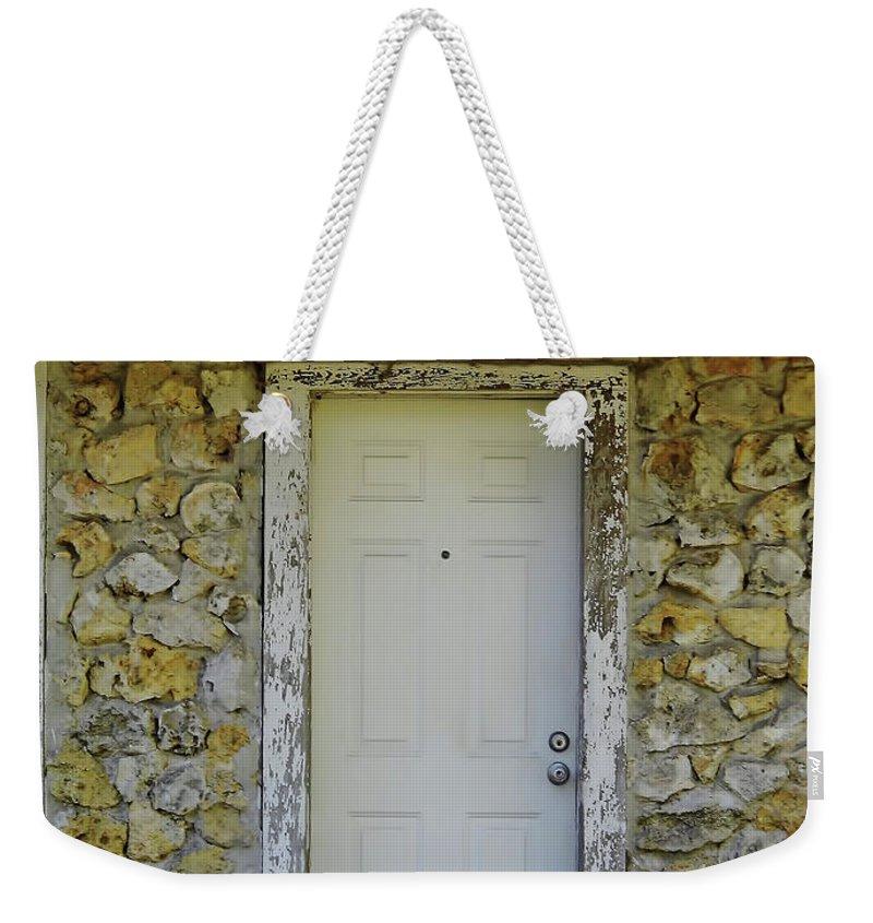 Door Weekender Tote Bag featuring the photograph Limestone House Door by D Hackett