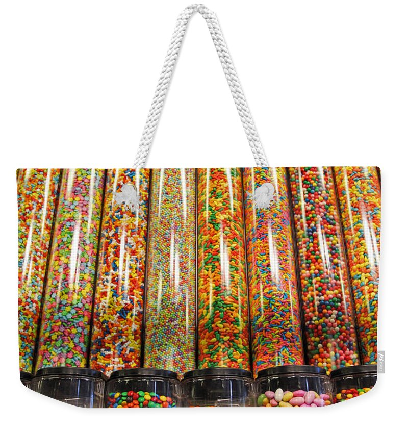 Candy Weekender Tote Bag featuring the photograph Limited Display by Jennifer Robin