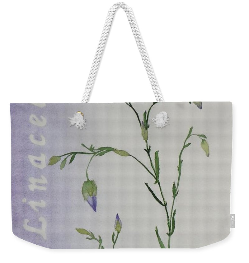 Flower Weekender Tote Bag featuring the painting Linacea by Ruth Kamenev