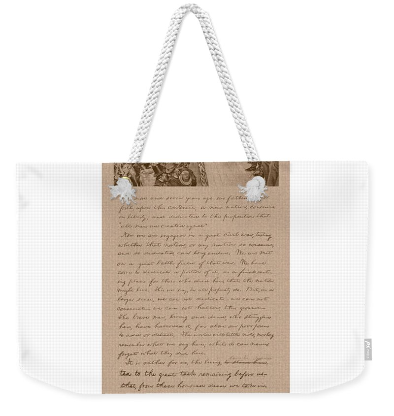 Abraham Lincoln Weekender Tote Bag featuring the mixed media Lincoln And The Gettysburg Address by War Is Hell Store