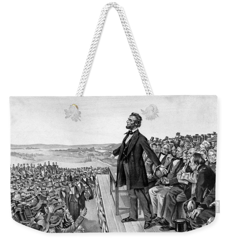 Gettysburg Address Weekender Tote Bag featuring the drawing Lincoln Delivering The Gettysburg Address by War Is Hell Store