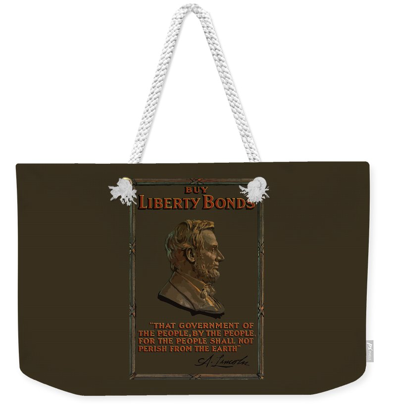 Abe Lincoln Weekender Tote Bag featuring the painting Lincoln Gettysburg Address Quote by War Is Hell Store
