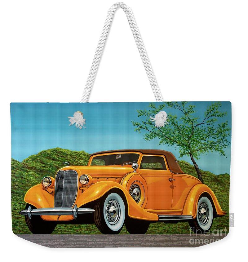 Lincoln K Convertible Weekender Tote Bag featuring the painting Lincoln K Convertible 1935 Painting by Paul Meijering