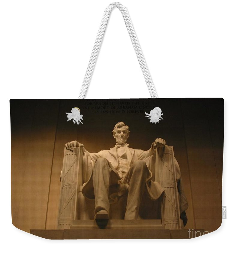 Abraham Lincoln Weekender Tote Bag featuring the photograph Lincoln Memorial by Brian McDunn